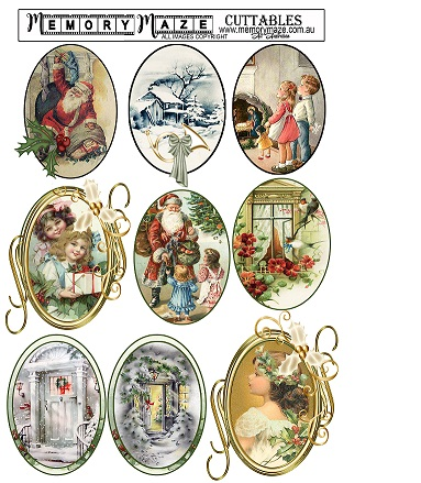 Vintage Christmas tags 3 . A4. Ideal for your Christmas cards. M