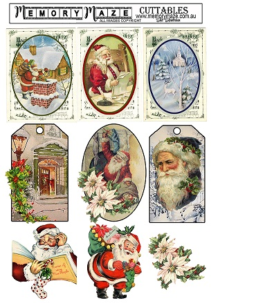 Vintage Christmas greeting tags . A4. Ideal for your Christmas c
