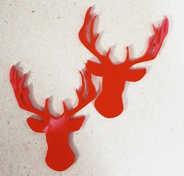 Acrylic deer head  RED 55 x 40mm pack of 5