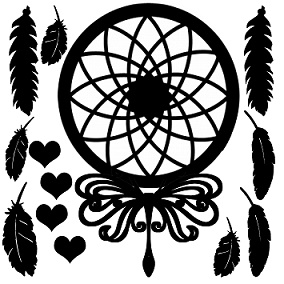Dream catcher indian feathers hearts  12 x 12 Mythical