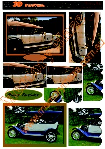 Vintage cars brown and blue