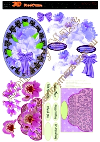 Purple flower on purple oval background