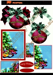 Christmas baubles and tree 2 card