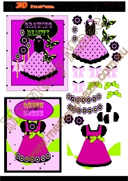Little girls dresses 2 cards