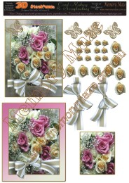 Pink and Purple roses 2 cards
