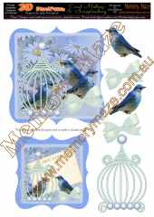 Vintage blue birds card blue & insert 2