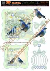 Vintage blue birds card grean & insert 2