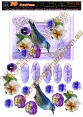 Blue bird multi sentiment pansies