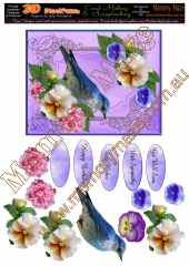 Blue bird multi sentiment peony & pansy lilac