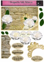 3d white camelias on a stone wall with gold