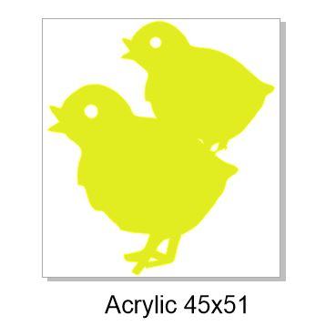Easter Chics  45 x 51mm pack of 4 Acrylic, colours available bel