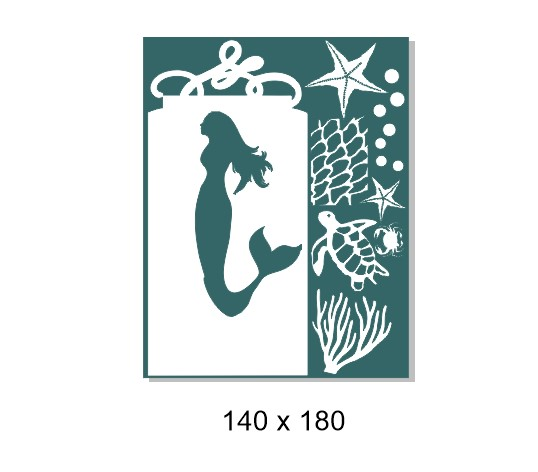 Seaside tag mermaid ,140 x 180mm. Min buy 3