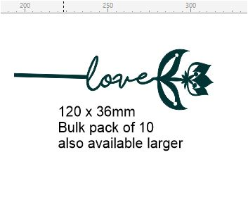Flower stick love pack of 10 -120 x 36mm