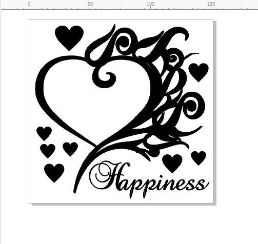 happiness heart frame  150 mm x 150mm min buy 3