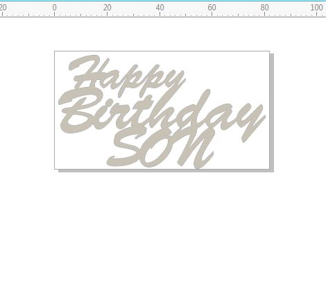happy birthday son  82 x 45  pack of 10  card size  script