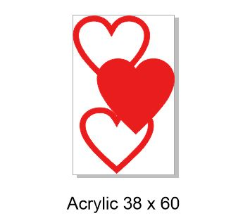 Acrylic heart, 1 solid ,60 x 38mm , pack of 5