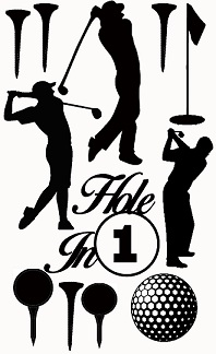 hole in 1 male golfer,gold balls, tees,110 x 180mm min buy 3