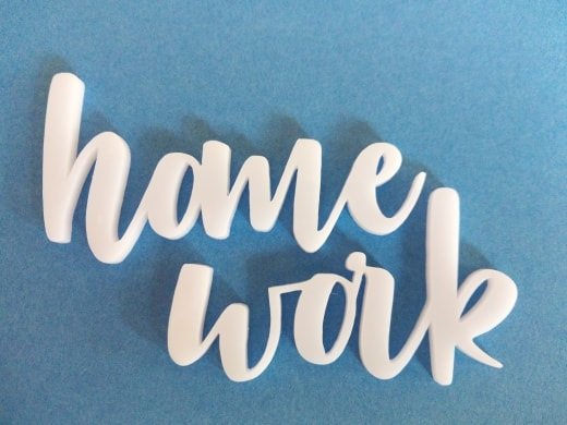 Acrylic word home work   31mm high 74long min buy3