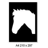 2 Piece stencil & mask. Horse head. A4. sold individually
