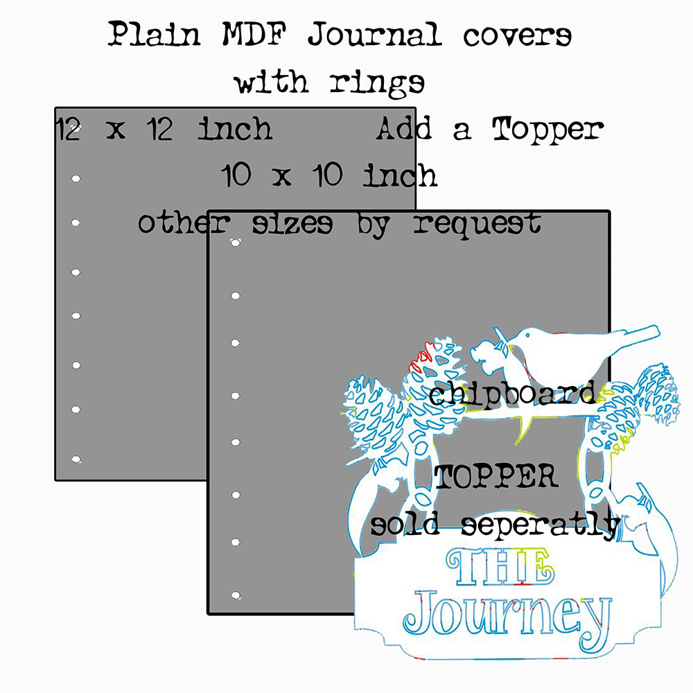 MDF Journal covers and rings 12 x 12 inch