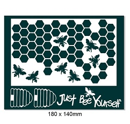 Just bee yourself.Bee hive,honeycomb,bee. 140 x 180mm .Min buy 3