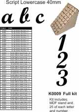 Script 40mm KIT  Lower case - Full set Stand, A-Z,  0-9