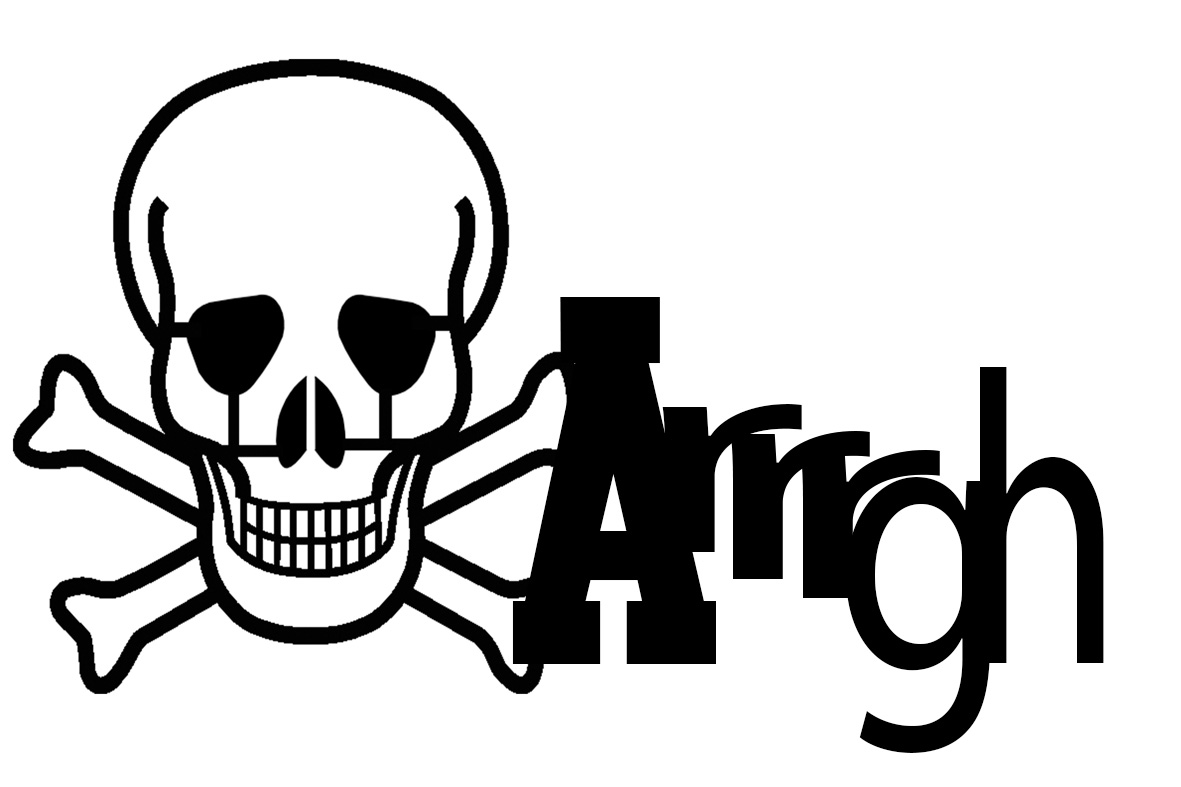 Arrgh Skull and crossbones pirate 150 x 100  BULK pack 5