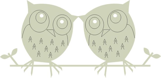 owls,birds two on a branch