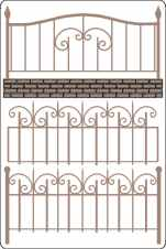 Wrought iron fence set