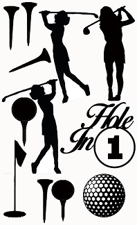 Golf, hole in 1, female , golfer,gold balls, tees,110 x 180mm mi
