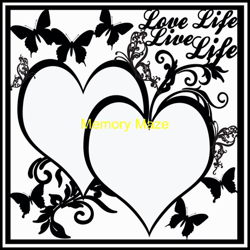 love life live life  12 x 12  butterflies and hearts
