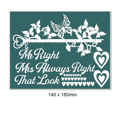 Mr. Right, Mrs. Always right, Butterflies, arrows 140 x 180mm Mi