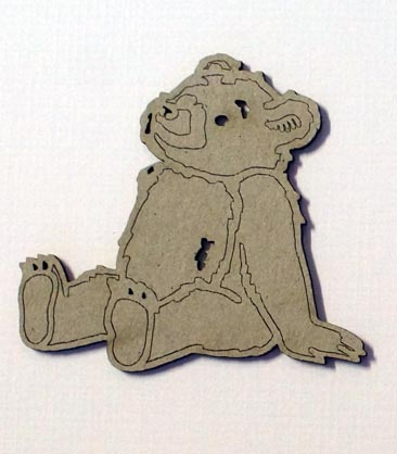 Old teddy bear  embossed  73 x 65 pack of 10