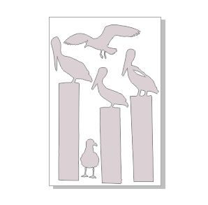 pelican poles and seagulls 100 x 150 sold in 3's