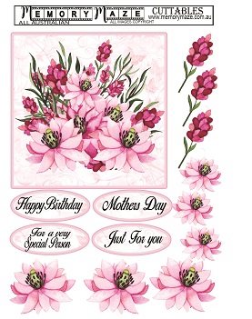 Flowers Watercolour 3D sheet sold in min 5