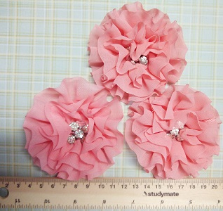 Chiffon Rhinestone Flower Colour - Dusty Pink  large bling centr