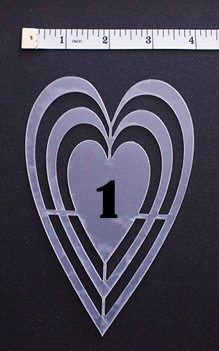 Platelet NO 1 heart long 3.5 x 5.5 inch Plastic stencil  also av