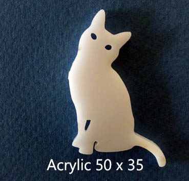 Cat Attitude 50 x 35mm  Acrylic  Pack of 5 .