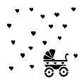 Pram and hearts baby stencil 8x8 min buy 3