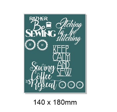 Sewing, needlework sayings 140 x 180mm. Min buy 3