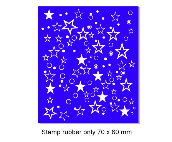 Stars and dots,background stamp, 60 x 70mm , Rubber only