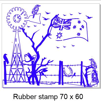 Outback Australia Rubber stamp 70 x 60 rubber only
