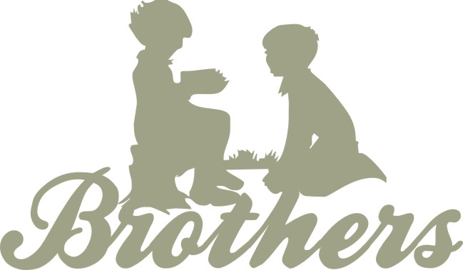 Brothers with 2 boys 150mm x 89mm  min buy 3