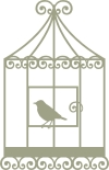 Bird Cage with Bird vintage  67mm x 105mm min buy 3