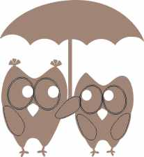 Owl pair under umbrella