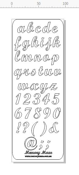 Script 20 mm lower case  replacements for kit alphabets 1 sheet
