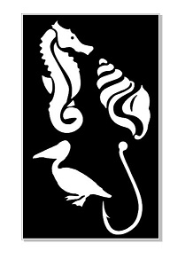 Seahorse shell pelican fish hook stencil 110 x 180mm