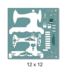 Sewing machine dimensional  12 x 12 sheet