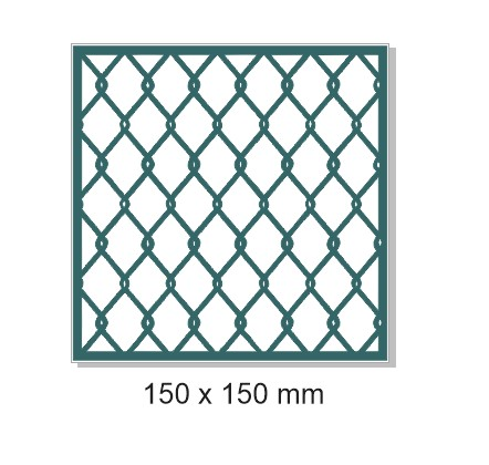 Chain Mail fence simple wire,150mm x 150mm. Min buy 3