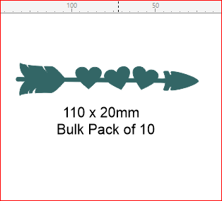 Single arrow heart pack of 10- 100 x 20mm